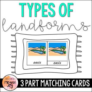 Landforms- Montessori 3 & 5 Part Cards