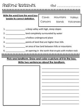 Landforms Assessment Science 3.E.2.2