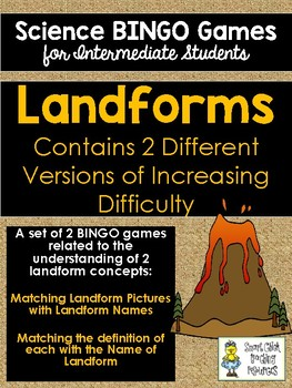 Landforms BINGO Science Game for Intermediate Students - 2 Versions to Play!