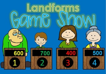 Landforms BUNDLE smartboard, task cards, write the room, game show