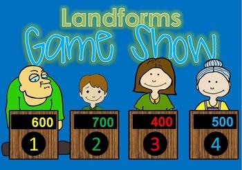 Landforms BUNDLE smartboard, task cards, write the room, game show