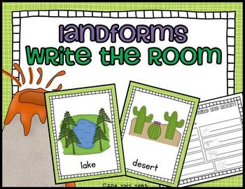 Landforms BUNDLE smartboard, task cards, write the room, g