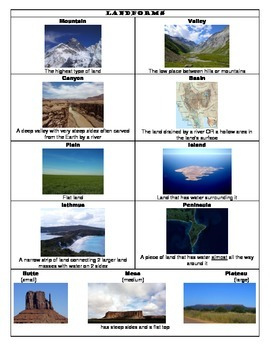 Landforms & Bodies of Water Flashcards, Notes, & Assignment