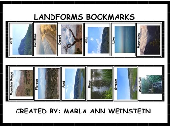 Landforms Booksmarks