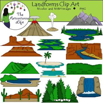 landforms clip art by the artventurous life teachers pay teachers rh teacherspayteachers com landforms and waterforms clipart River Clip Art