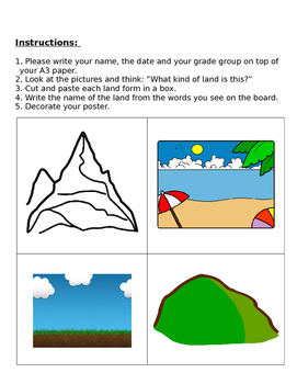 Landforms- Cut-and-Paste Activity: assessment