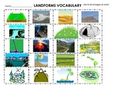 Landforms Cut & Paste Definitions, flash cards, 20 words, centers