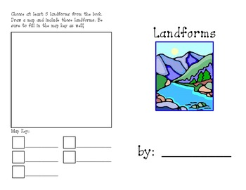 landforms definitions map key symbols by fun in first grade