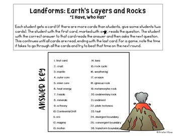 """Earth Layers & Rocks: """"I Have, Who Has"""" Review Game"""