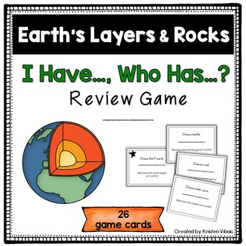 """Earth's Layers and Rocks Game """"I Have, Who Has"""""""