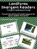 Landforms Emergent Reader-4 BOOKS, DIFFERENTIATED!