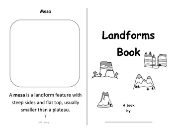 Landforms - Foldable Booklet - Color, Cut and Paste