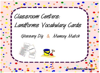 Landforms Glossary Dig and Memory Match Center Activities