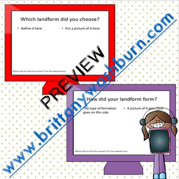 Landforms Guided Research PowerPoint Template