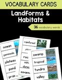 Landforms & Habitats Vocabulary Cards