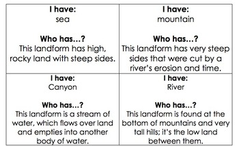 Landforms - I Have, Who Has?