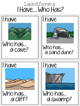 Landforms:  I Have, Who Has? Geography Game