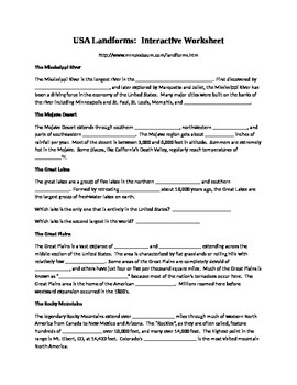 Landforms Interactive Worksheet