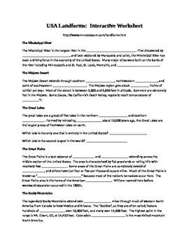Landforms Interactive Worksheet