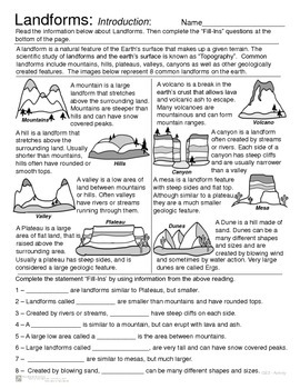 Landforms - Introduction and Review Activity -