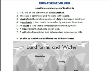 Landforms, Locations, and Continents TEST and STUDY GUIDE