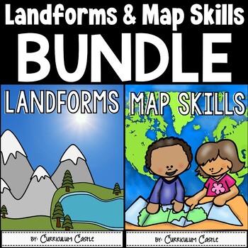 Landforms & Map Skills Unit BUNDLE on salt dough project california regions map, 3d landform project map, create your own island project map,