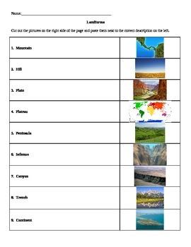 Landforms Match Activity