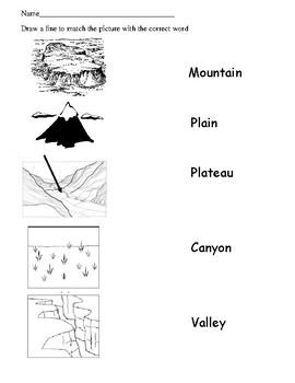 Landforms Matching