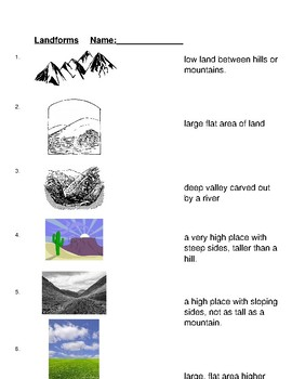 Landforms Matching W/ Vocab Terms