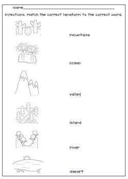 Landform Worksheets: Landforms Matching Worksheet by L  M  N  O  Pink   Teachers Pay    ,