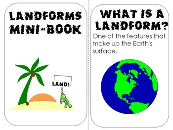 Landforms Mini- Book lesson, review, definitions, visualizations or center work