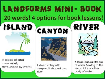 Landforms Mini- Book lesson, review, definitions, visualiz