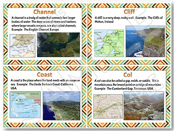 Landforms and Bodies of Water Photo Reference Cards with map representations