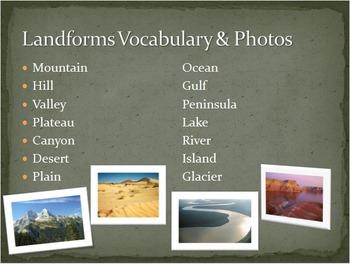 Landforms PowerPoint Presentation Vocabulary