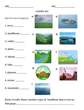 Landform Vocabulary Quiz
