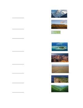 Landforms Quiz- Spanish