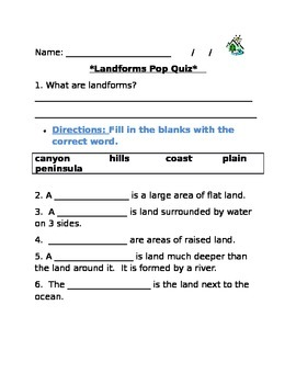 Landforms Quiz/Assessment