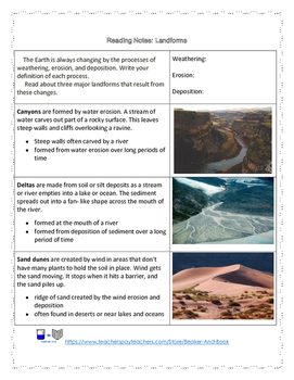 Landforms Reading Activity Pack