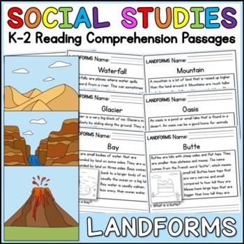 Landforms Reading Comprehension Passages (K-2) - Social Studies
