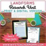 Landforms and Bodies of Water Research Unit- Landforms Activity