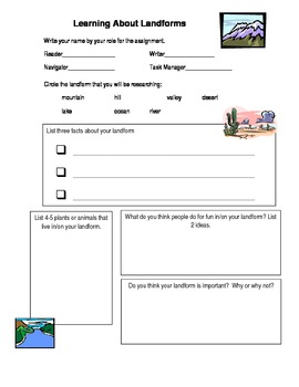 Landforms  SS or Science Groupwork research organizer great for 2-5th grade
