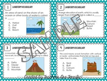 Landforms STEM Challenge and Task Cards Mini Bundle