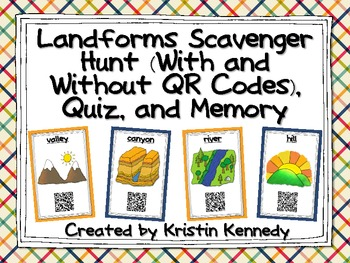Landforms Scavenger Hunt (With and Without QR Codes), Quiz