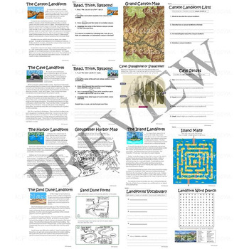 Landforms Science and Literacy Activity Packet and Worksheets