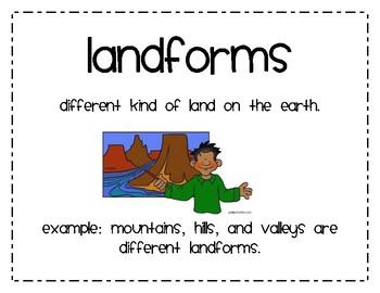 landforms second grade by erika jacob teachers pay teachers. Black Bedroom Furniture Sets. Home Design Ideas