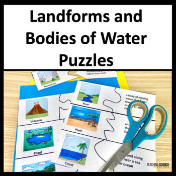 Landforms Sorting and Matching Puzzle Cards