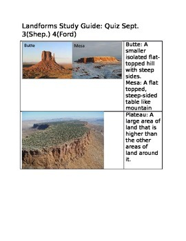 Landforms Study Guide