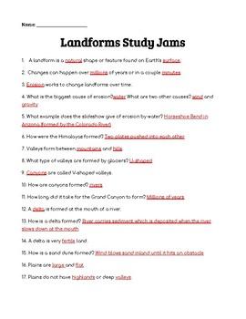 Landforms Study Jams Worksheet