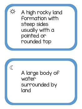 Landforms Task Cards includes Assessment Ideas