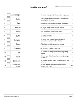 Landforms: Terms and Definitions (Worksheets)